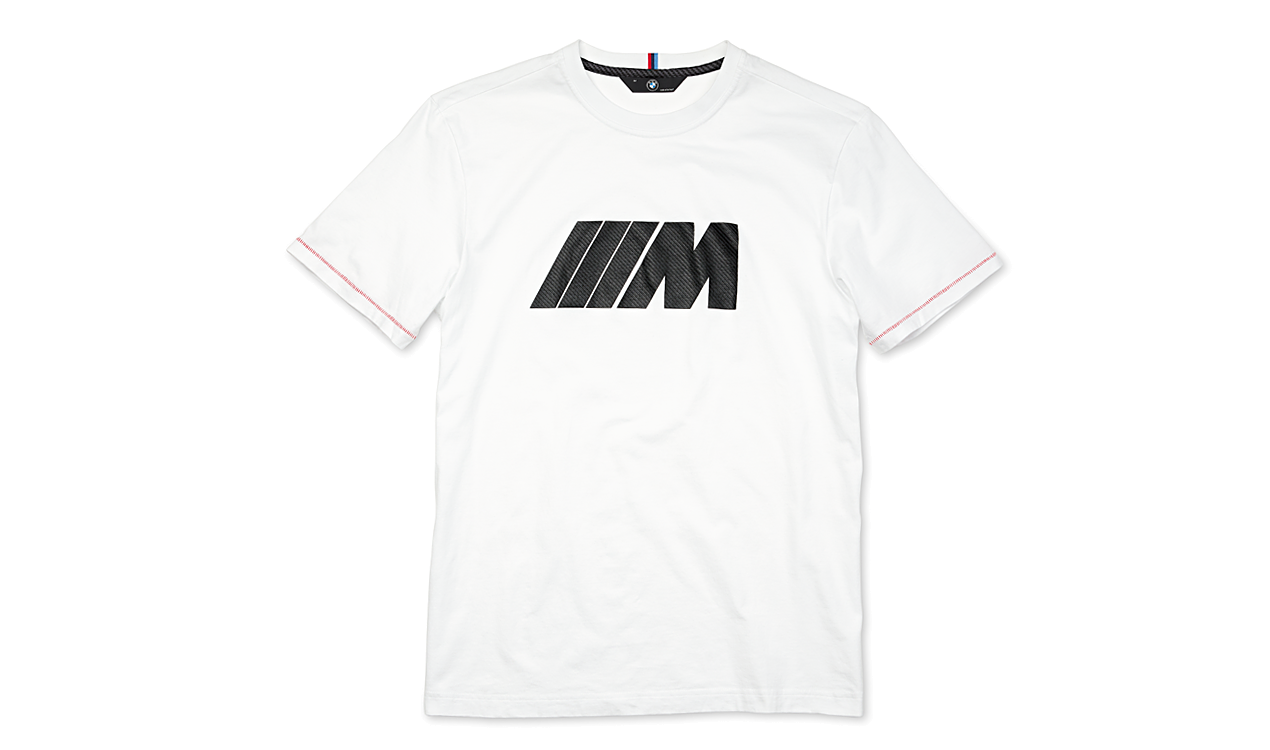 BMW M Herren T-Shirt mit Carbon Applikation, weiß
